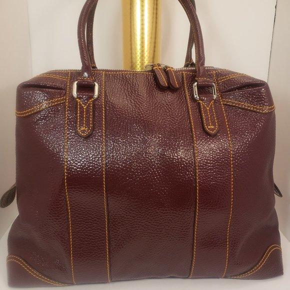 VHTF Fendi Burgundy Patent Leather Hand Bag Purse